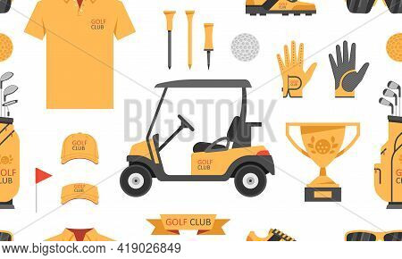 Seamless Pattern With Golf Game. Golfer Sports Equipment. Flat Style. Isolated On White Background