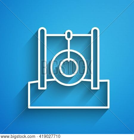 White Line Car Tire Hanging On Rope Icon Isolated On Blue Background. Playground Equipment With Hang