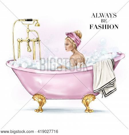 Fashion Blonde In Bath With Bubbles. Beautiful Blond Hair Girl With Headband. Pretty Woman In Bathro