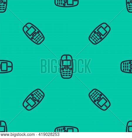 Blue Line Old Vintage Keypad Mobile Phone Icon Isolated Seamless Pattern On Green Background. Retro