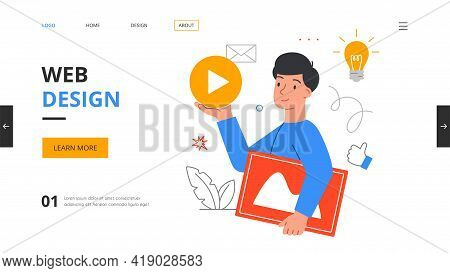 Young Male Graphic Designer Creating Web Page Template. Website Or Mobile Application Design Develop