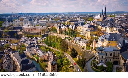 Typical View Over The City Of Luxemburg - Aerial Photography