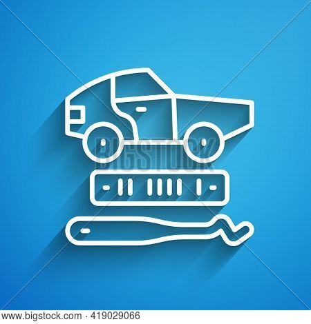 White Line Car Theft Icon Isolated On Blue Background. Long Shadow. Vector