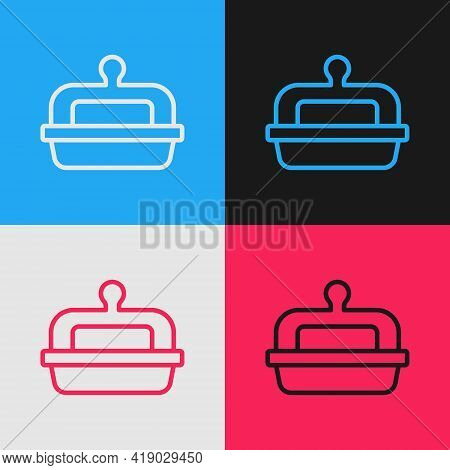 Pop Art Line Butter In A Butter Dish Icon Isolated On Color Background. Butter Brick On Plate. Milk