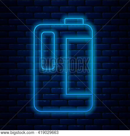 Glowing Neon Line Plastic Bottle With Handle For Milk Icon Isolated On Brick Wall Background. Gallon