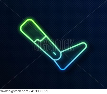 Glowing Neon Line Prosthesis Leg Icon Isolated On Blue Background. Futuristic Concept Of Bionic Leg,