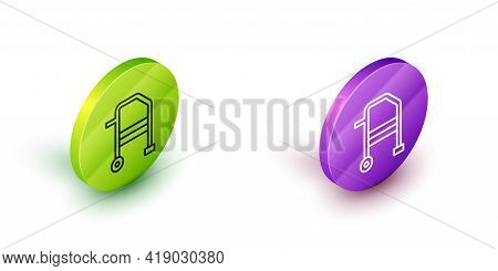 Isometric Line Walker For Disabled Person Icon Isolated On White Background. Green And Purple Circle
