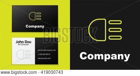 Logotype Line High Beam Icon Isolated On Black Background. Car Headlight. Logo Design Template Eleme