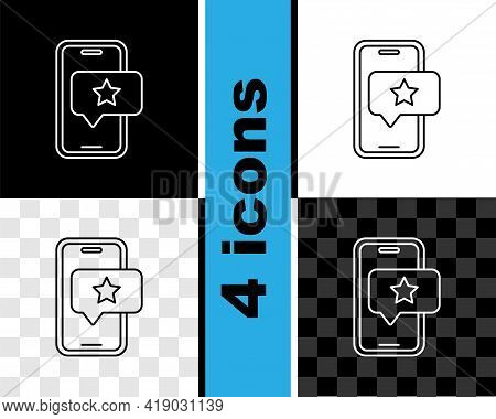 Set Line Mobile Phone With Review Rating Icon Isolated On Black And White, Transparent Background. C