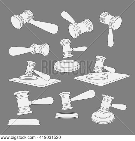 Coloring Page With Vector Illustration Of The Judges Hammer In Different Angles, Top And Side. 3d Mo