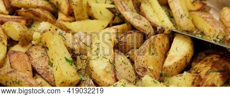 Beautiful Potatoes Baked With Wedges In The Oven With Fragrant Herbs