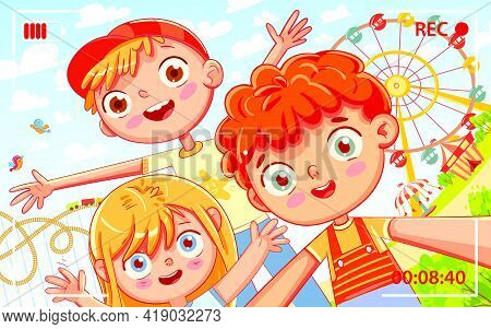 Group Of Friends Taking Selfie And Laughing. Selfie On Amusement Park. Children Shoot Myself On Came