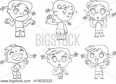 Cute Girl With Pigtails In A Variety Of Emotional States. Black And White Drawing. Funny Cartoon Cha