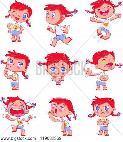 Cute Red-headed Pigtailed Girl With Different Emotions. Emoji Stickers Emotions. Funny Cartoon Color