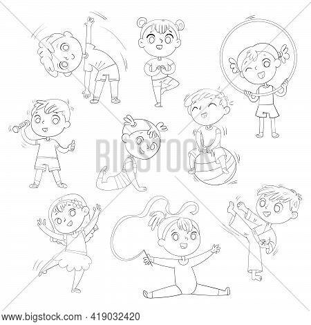 Sport For Kids. Physical Training, Fitness, Karate, Yoga, Aerobics, Gymnastics, Dancing. Let S Play.