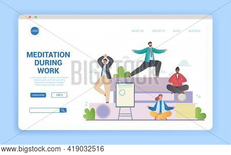 Meditation During Work Concept With Group Of Diverse Multiracial People Meditating In Different Pose
