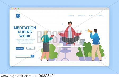 Workplace Meditation Abstract Concept In Office With Office Manager Meditating At Workplace Under Ti