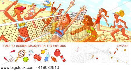 Women Beach Volleyball. Panorama. Find 10 Hidden Objects In The Picture. Puzzle Hidden Items. Funny