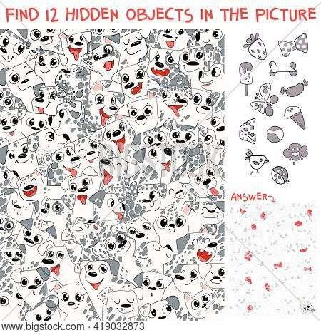 Pattern Of Dalmatian Puppies. Find 12 Hidden Objects In The Picture. Puzzle Hidden Items. Funny Cart