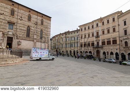 Perugia,italy May 01 2021:square Of Four November In The Center Of Perugia