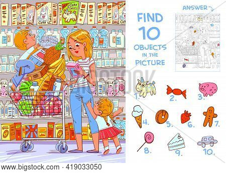 Find 10 Objects In The Picture. Puzzle Hidden Items. Mother And Two Young Children Are Shopping In A