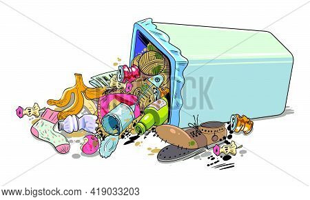 Inverted Garbage Basket. Overturned Trash Can. Funny Cartoon Character. Vector Illustration. Isolate
