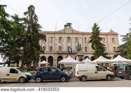 Perugia,italy May 01 2021:palazzo Della Prefettura In Square Italia In The Center Of Perugia