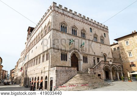 Perugia,italy May 01 2021:square Of Quattro Novembre Palace Of Priori In The Center Of Perugia