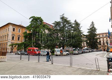Perugia,italy May 01 2021:piazza Italia In The Center Of Perugia