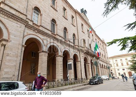 Perugia,italy May 01 2021:piazza Italia Prefecture Palace In The Center Of Perugia