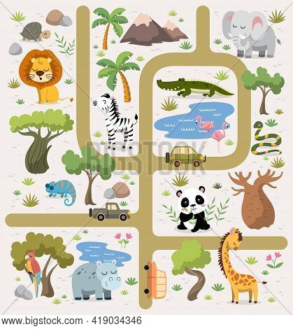 Tropical Maze With Animals In Safari Park. Set Of Cartoon African Tropical Exotic Animals. Road In A
