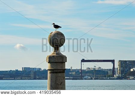 The Pier Colunas Is Located In Commerce Square In The Historical Center Of The City Of Lisbon, Portu
