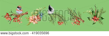 Vintage Floral Set Spring Or Summer Decoration With Pine Dry Branch, Red Berries, Mountain Ash, Litt