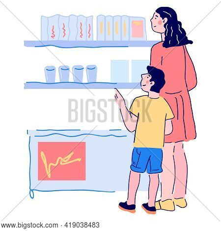 Mother And Son Shopping In Supermarket, Cartoon Vector Illustration Isolated On White Background. Wo