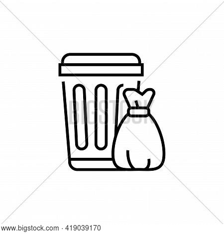 Trash Icon. Rubbish Can And Bag Vector Illustration.