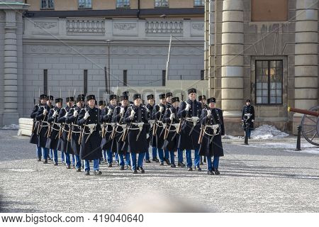 Changing Of The Guard Ceremony At Observation Deck Near The Royal Palace. Stockholm, Sweden. March,