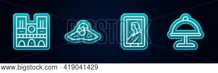 Set Line Notre Dame, Elegant Women Hat, Portrait In Museum And Covered With Tray. Glowing Neon Icon.