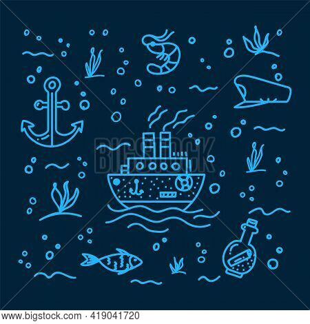 Sea Life For A Poster On A Black Background. Hand-drawn Illustration Of A Ship And The Sea. Sea Back
