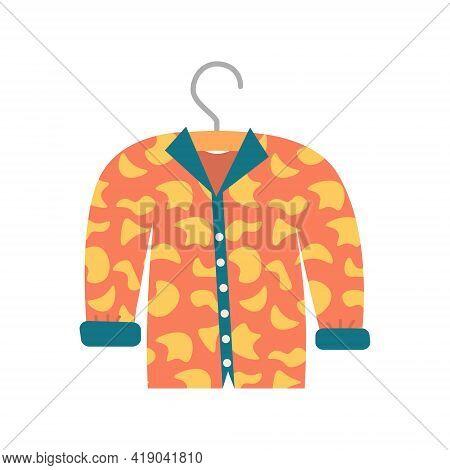 Long Sleeve Orange Trendy Blouse, Vector Illustration, Isolated On A White Background
