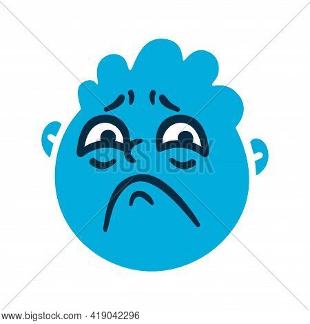 Round Abstract Face With Sad Emotions. Sorrow Emoji Avatar. Portrait Of An Upset Man. Cartoon Style.