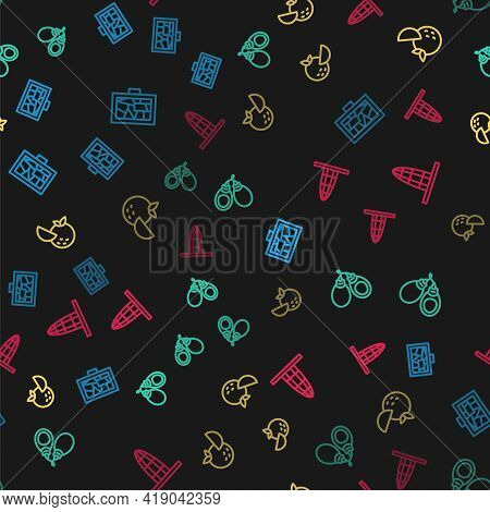 Set Line Picture Art, Castanets, Orange Fruit And Agbar Tower On Seamless Pattern. Vector