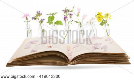 Bottles With Bach Flower Stock Remedy And Book. Concept