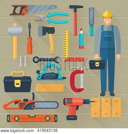 Flat Color Shadow Icons Set With  Carpentry Tools Kit For Woodwork Isolated Vector Illustration