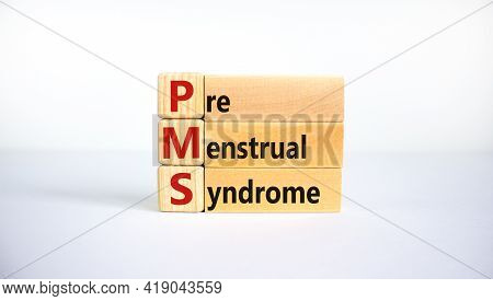 Medical And Pms, Premenstrual Syndrome Symbol. Wooden Cubes And Blocks With Words 'pms, Premenstrual