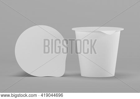Plastic Cup For Yoghurt And Sour Cream. For Use In Mockups. 3d Illustration