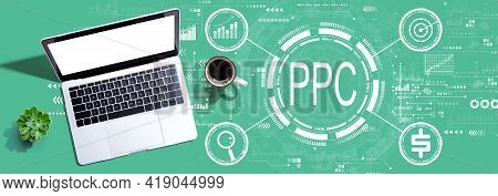 Ppc - Pay Per Click Concept With A Laptop Computer On A Desk