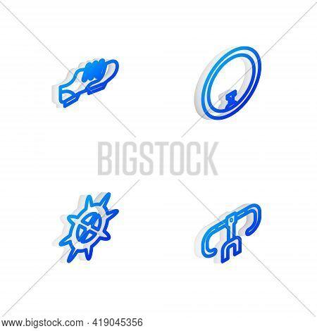 Set Isometric Line Bicycle Wheel, Shoes, Sprocket Crank And Handlebar Icon. Vector