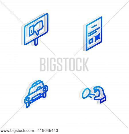 Set Isometric Line Poll Document, Protest, Police Car And Flasher And Hooligan Shooting Stones Icon.