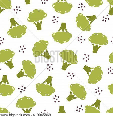 Hand Drawn Seamless Pattern Of Simple Broccoli. Doodle Sketch Style. Broccoli Pattern For Food Shop,