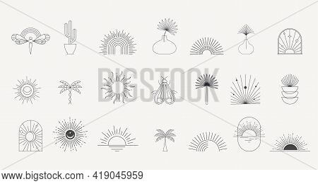 Bohemian Linear Logos, Icons And Symbols, Sun, Palms, Landscapes Design Templates, Geometric Abstrac